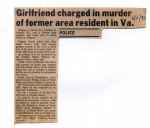Girlfriend Charged in Murder of Former Resident - article 3/4/85