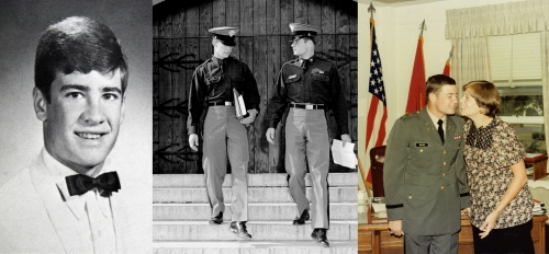 Left: Senior, Center: Gary on right- West Point, with my brother Ken in October 1973. Right:  At Ft. Sill, OK.  My promo